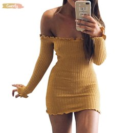 white bodycon sweater dress Australia - Women Dress Sexy Slim Bodycon Dress Autumn Winter Knitted Empire Elastic Sweater Party Night Dresses Vestidos Designer Clothes