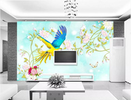 Decorative pictures for beDrooms online shopping - 3d room wallpaper custom photo mural Original elegant flower and bird figure decorative home decor wall art pictures wallpaper for walls d