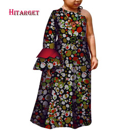 b15acef7715 African Children Baby Girls Long Dresses Traditional African Print Bazin  Riche Flare Sleeves Party Dresses Kids Clothes WYT284