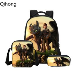 5228c148dd4 3Pcs Set Backpacks Cartoon How To Train Your Dragon Black White Fury 3D  Printing School Bags Children Bookbag Casual Daypacks 9