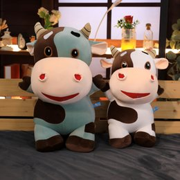 soft toy cow NZ - Stuffed Animals Calf Doll Plush Toy Zodiac Cow Cute Super Soft Smooth Large Pillow Gift Girl And Boy Childrens' Day Present