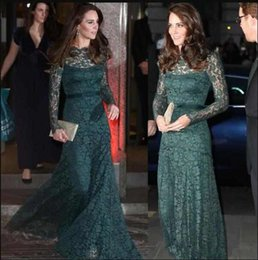 Discount kate middleton long dresses 2018 Celebrity Kate Middleton Lace Evening Dresses with Long Sleeves Zipper Back Mother of the Bride Dresses for Prom