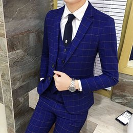 Blue Professional Suits NZ - Costum Homme Mariage 3pieces Single-breasted Slim Plaid Professional Business Suit Groomsmen Dress