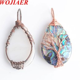 charms wire wrapping UK - WOJIAER Tree of Life Metal Wire Wrap Water Drop Bead Necklace & Pendant Natural Abalone Shell Jewelry Chain 18Inches DBN815