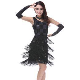 $enCountryForm.capitalKeyWord UK - Sexy Women Beaded Sequin Party Dress O-Neck Sleeveless Plaid Tiered Fringe Dress Ballroom Latin Jaza Dance Dress