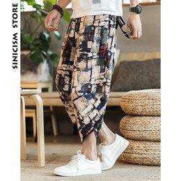 cd02c75237 Sinicism Store Mens Cotton Linen Pants Male Summer Casual Ankle-Length  Pants Man 2018 Pattern Print Baggy Loose Trousers