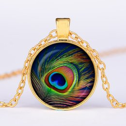 $enCountryForm.capitalKeyWord Australia - 2019 new retro peacock feather time gemstone necklace glass dome pendant necklace wholesale 4 color optional