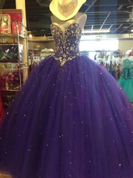 strapless corset coral prom dress 2019 - Grape Ball Gown Tulle Quinceanera Dresses 2019 Strapless Crystal Beaded A Line Floor Length Corset Back Sweet 16 Prom Go