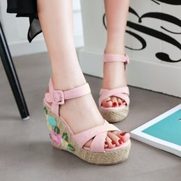 Waterproof Summer Shoes Australia - Sexy2019 Pattern New Summer Women's Shoes Exceed High Slope With Waterproof Platform One Buckle Embroidery Weave Fashion Flower Sandals