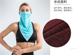 cool face masks 2020 - Quick Dry Cycling Scarf Summer Cool Ice Silk Half Face Masks Sun-proof Unisex Multifunction Triangular Bandage Outdoor H