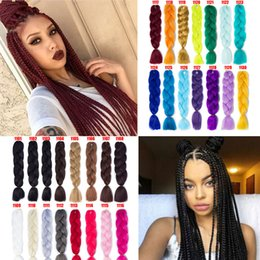 Wholesale 24 Sythentic Jumb Braiding Twist Box Hair Extensions Solid Color Crochet Braids Hair Bulks For Black Women Fashion Silk Hair Products