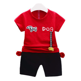 Boy Dog T Shirt Australia - Fashion Infant Cartoon Dog Clothes Summer Baby Boys Girls T-shirt Short Pants 2Pcs Sets 2019 Children Pure Cotton Clothing Sets