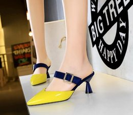 $enCountryForm.capitalKeyWord NZ - Summer fashion thick high-heeled sandals patent leather shallow mouth pointed belt buckle slip-on women shoes 6.5cm 906-2