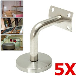 stainless steel handrail NZ - 5x Stainless Steel Stair Handrail Guard Rail Mount Banister Support Wall Bracket Silver for 4.5-6cm Tubes for Stair Sailing
