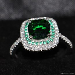 $enCountryForm.capitalKeyWord Australia - Size 5-10 Luxury Jewelry 100% pure 925 Sterling Silver Cushion Cut Handmade Emerald 5A White CZ Wedding Women Band Pave Ring for Lover Gift