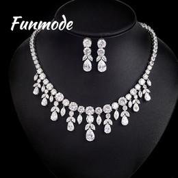 $enCountryForm.capitalKeyWord Australia - Funmode Luxury Sparking Brilliant CZ Drop Earring Necklace Heavy Dinner Jewelry Set Wedding Bridal Dress Accessories F006K