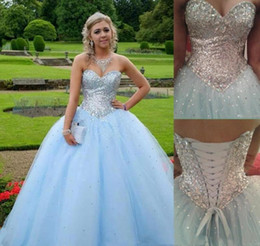 $enCountryForm.capitalKeyWord Australia - 2019 Glitter Princess Ball Gown Quinceanera Dresses Sweetheart Crystals Sequins Beaded Light Sky Blue Long Sweet 16 Girls Prom Party Dress