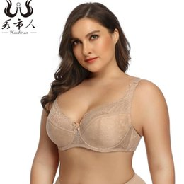 Discount push up bra american European and American Plus Size Women Ultra-thin Breathable Lingerie Plus Size French Bralette Push Up Bras Sexy Lace Br