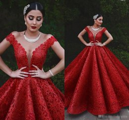 $enCountryForm.capitalKeyWord Australia - Vintage Full Lace Red Evening Dresses Said Arabic 2019 Ball Gown V Neck Appliques Ruched Long Vestidos Formal Party Prom Wear Gowns BC1839