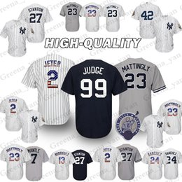 ТОП Нью-Йорк Янки Бейсбол Джерси 2#24# 99 Аарон судья 23 Дон Mattingly 42 Мариано Ривера трикотажные изделия высокого качества