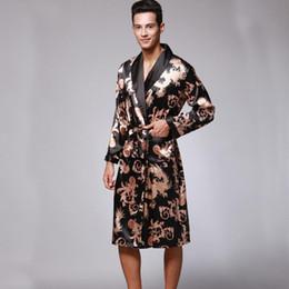 2a483031ca SSH0127 Spring Autumn Men s Bathrobes Dragon Printed Male Pajamas Full Sleeves  Nightwear Sleepwear Satin Silk Kimono Robe Pyjama