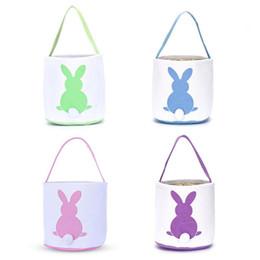 $enCountryForm.capitalKeyWord NZ - Easter Jute Rabbit Basket Canvas Four Colors Printing Mermaid Sequins Storge Bags Egg Candies Baskets Party Supplies Hot Sale