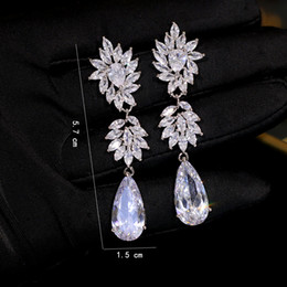 longest earrings NZ - High quality Earrings silver long crystal fashion cubic zirconia woman jewelry party evening accessories water ZY