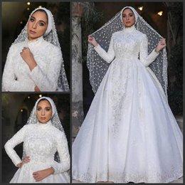 $enCountryForm.capitalKeyWord Australia - 2019 New Elegant Overskirt Lace Muslim Wedding Dresses Pearls High Neck Appliqued Long Sleeves Bridal Gowns A Line White Wedding Dress