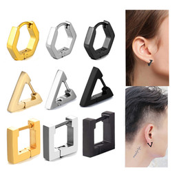 Medical earrings online shopping - Creative Hoop Earrings Men Triangular Square Earring Fashion Women Jewelry L Medical Stainless Steel Anti allergic Ear Plug