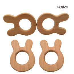 $enCountryForm.capitalKeyWord UK - Beech Wooden rabbit Teether Unfinished Wood Animal Food Grade Baby Wood Ring Teether DIY Nursing Necklace Charms Pendant