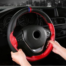 leather stitching needles Australia - Hand-stitched Microfiber leather color matching sports steering wheel cover soft leather braided needle and interior accessories