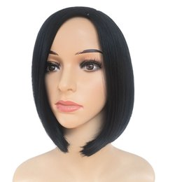 Discount kinky straight bob - 10 inches Lady Girl Bob Short Straight Wig Women's Bangs Heat Resistant Synthetic Kinky Full Hair Wigs Cosplay Wigs