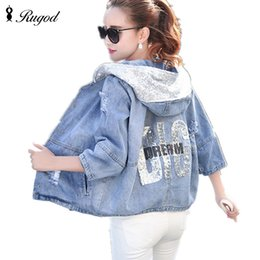 girls rip jeans size Canada - RUGOD Spring Autumn Women Denim Jacket Girls Casual Loose Ripped Hole Jeans Coat Female Plus Size Hooded Outerwear Bomber JacketMX190930