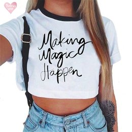 Rose sleeves online shopping - Womens T Shirt Letter Rose Crop Top Short Sleeve T Shirts Women Brand Casual Tees Summer Female Cute New Cropped