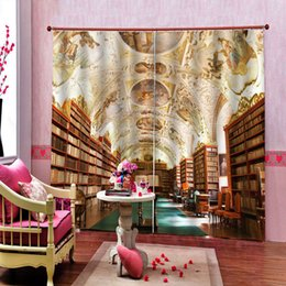 books live Canada - Custom 3D European Style Vintage Books Bookshelf Library Bar Curtain For Living room Bedroom Blackout Drapes Sets (Left and Right Side)