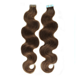 24 inch tape hair online shopping - 100 Brazilian virgin Human Hair Weave Brown color Tape in Curly Human Hair Extension16 inch