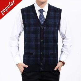 $enCountryForm.capitalKeyWord Australia - Men Business V-neck Plaid Knitting Vests Male Sleeveless Sweater Jackets Single Breasted Loose Plus Size Wool Gilet W1273