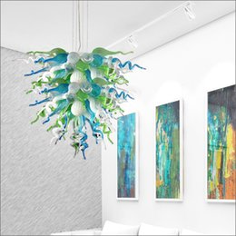 $enCountryForm.capitalKeyWord NZ - Elegant Tiffany Stained Handmade Blown Galss Hanging Chain Chandelier Dale Chihuly Style Hand Blown Glass Crystal Chandelier for Dining Room
