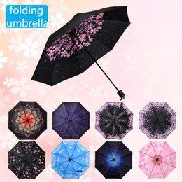 Nylon Coating Australia - Women Flowers Print Black Coating Parasol Folding Umbrella Girls Anti-UV Rain Umbrella Protection Sun Rain Gear YS141