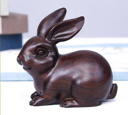 $enCountryForm.capitalKeyWord Australia - Ebony wood carving Rabbit Decoration Solid Wood Living Room Home Recruitment and Operation Black sandalwood carved Decorative Ornaments