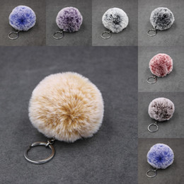 $enCountryForm.capitalKeyWord NZ - Free DHL 2019 Plush Car Keychain Fur Keyring Hot Sale Snowflace Bag Charm Phone Purse Wallet Bag Keychains Key Holder Silver Metal B554F Y