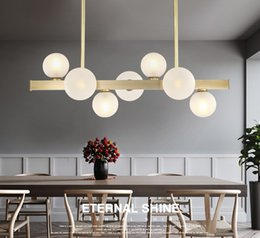 g9 pipe 2019 - Nordic Glass Beans Led Chandelier Lighting Lustre Copper Dining Room Led Pendant Chandeliers Lights Foyer Led Suspension