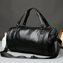 luggage hand bags Australia - 2019 High Quality Travel Bag black PU Leather Travel Bags Hand Luggage For Men And Women Fashion Duffle Bag Large Capacity Women Travel tote