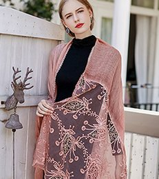 $enCountryForm.capitalKeyWord NZ - 2019 spring and autumn new European and American retro lace dyed cotton and linen solid color shawl scarf female
