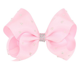 Chinese  5 Inch Jojo Siwa Bows Rhinestone Screw Ribbon Girls Bows Pearl Ceramics Hairpins Solid color bow Barrettes Girls Christamas Small Gifts manufacturers