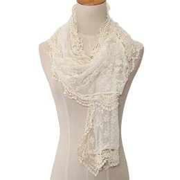 shawl embroidered scarf UK - New Fashion Japen Sweet Style Hollow Lace Rose Floral Knit Long Scarf Women Embroidered Scarves All-match Shawls & Wraps
