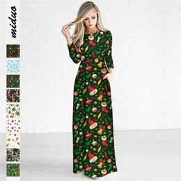 canvas print factory NZ - European and American new Christmas digital printing women's long-sleeved dress fashion long skirt tide brand factory direct sales
