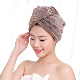 Polyester Hair Australia - Hat Super Absorbent Hair Towel Quick-dry Soft Polyester Cotton Bathroom Merbau Cap Women Turban