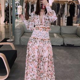 c6586ee49 2019 Women Fashion V Collar Puff Sleeve Sexy Floral Print Crop Top + Slim  Long Vinatge Elastic Waist Skirt Set Beach Boho Suit
