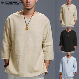 $enCountryForm.capitalKeyWord Australia - INCERUN T Shirt Men Solid Loose 3 4 Sleeve V-neck Cotton Men Tee Tops Casual Vintage T-shirt Chinese Style Camisetas Hombre 5XL
